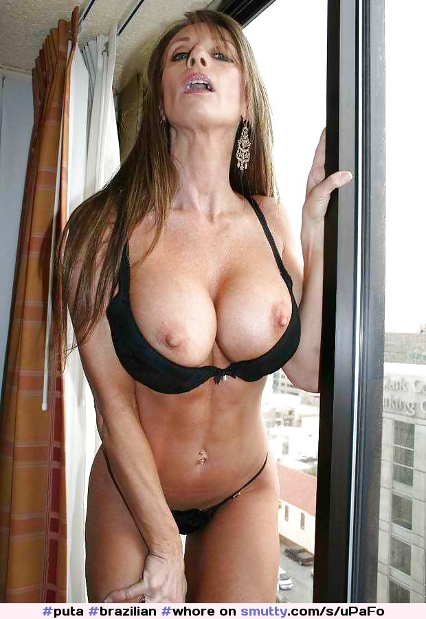 brunette shows off her amazing big natural tits and masturbates with her dildo